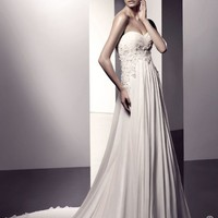EN1003 Grecian Strapless Chiffon Wedding Gown with Sweethear - Wedding Dresses