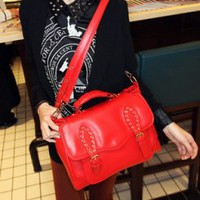 Wholesale Trendy leather messenger bags for women for business C-M16-050 red - Lovely Fashion