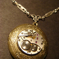 Steampunk Neo Victorian Watch Movement LOCKET Necklace  (812)
