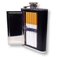 Amazon.com: 6 oz. Flask with Built in Cigarette Case (For King Size & 100's): Health & Personal Care