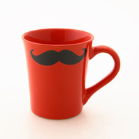 Mustache Mug Moustache Mug Red Double Sided Kiln Fired