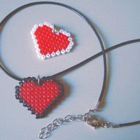 Valentine's Day Pixel Heart 8 bit Pendant in Black or White. Korea Wax Snake String Necklace Cord With Lobster Clasp