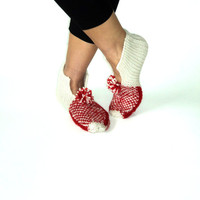 Valentines,  Ivory &Red Wool Slippers