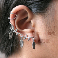 Silver Tree Branch Leaf Ear Cuff Earring by EnamourEntirety