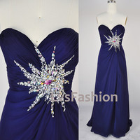 Strapless Sweetheart Floor Length Chiffon Royal Blue Prom Dress Bridesmaid Dress Party Dress, Evening Gown