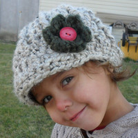 Baby Billed Beanie with Flower Oatmeal  by SoLaynaInspirations