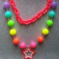 Magical Rainbow Star Princess Necklace - One of a kind