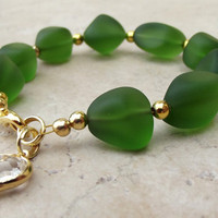 Emerald Sea Glass Bracelet:  Bottle Green and Gold Beaded Valentines Day Jewelry with Heart Charm