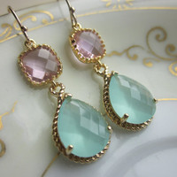 Pacific Aqua Earrings Pink Gold Earrings Teardrop Glass - 14k Gold Filled Earwires - Bridesmaid Earrings Wedding Earrings Christmas Gift