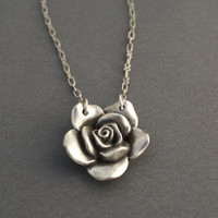 Free Shipping Jewelry - RUSTIC SILVER ROSE Pendant Necklace by Cheydrea