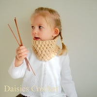 Childs Scarf Girl Neckwarmer Organic Cotton Cowl by daisiescrochet