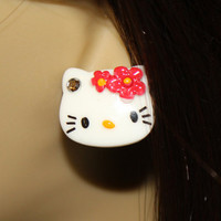 Red Hello Kitty Stud Earrings