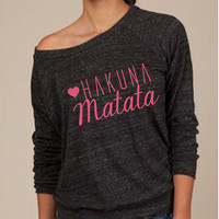 Hakuna Matata Lion King Slouchy Long Sleeve Top Eco Friendly