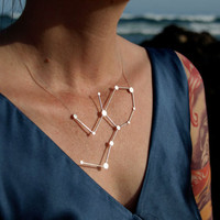 Virgo Zodiac Constellation Sterling Silver Necklace by jesikajack