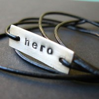 Hero Bracelet Sterling Silver and Leather by SpiffingJewelry