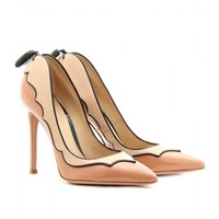 mytheresa.com -  Gianvito Rossi - PATENT LEATHER PUMPS WITH SCALLOPED TRIM  - Luxury Fashion for Women / Designer clothing, shoes, bags