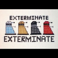 Dalek Rainbow  Doctor Who Inspired Crossstitch by elfstitch