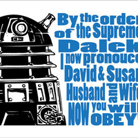 Dr Who Dalek Typography   Personalized Wedding Gift by DBArtist