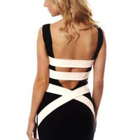 Quontum Nude Strap Back Bodycon Dress Q1056
