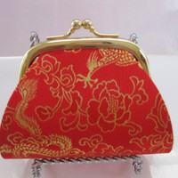red &amp; gold dragon print silk jacquard coin purse