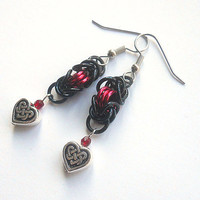 Celtic heart earrings, Valentine's Day jewelry, Gothic chainmaille earrings, Red and black