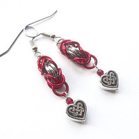 Valentine's Day earrings, Celtic knotwork jewelry, Red heart earrings, Chainmaille, Byzantine weave