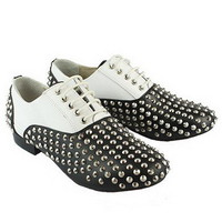 Christian Louboutin Studded Oxford Sneakers Black/White - $210.00
