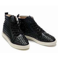 Christian Louboutin Louis Studded Hi-Top Sneakers Black - $180.00