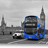 Big Ben And London Bus Stretched Canvas Print / Canvas Art By Alice Gosling