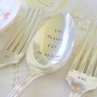 Mr and Mrs Stamped Dinner Forks With Wedding by BabyPuppyDesigns