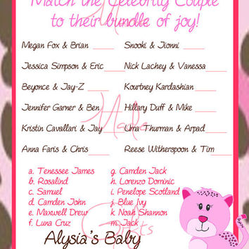 printable celebrity couples baby shower game