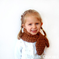 Crochet Girl Scarf Pecan Brown Organic Cotton by daisiescrochet