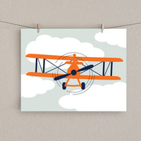 Antique Airplane Nursery Art Print -  Orange & Navy blue, 11x14