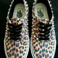 Custom Chick Vans studded Black / Brown Leopard Print, all sizes