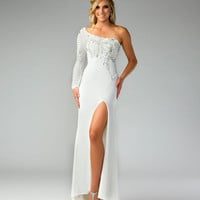 Mac Duggal Prom 2013 - Ivory &amp; Silver One Shoulder Sleeve Chiffon Gown - Unique Vintage - Cocktail, Pinup, Holiday &amp; Prom Dresses.