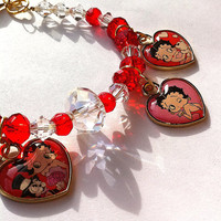 Betty Boop collectable heart charm bracelet in red and clear for valentines