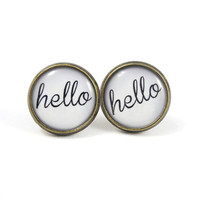 Hello Earring Studs - Hello Text Earrings - Black White Earring Posts - Conversation Starter - Message Earrings