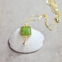 Candy store collection Simple, bold and elegant necklace square apple green olive jade stone pendant in golden frame long chain by YUNILIsmiles