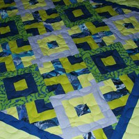 Baby toddler quilt  Green Apple Green and blue tasty and by GaliaK