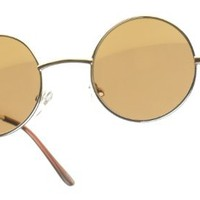 Amazon.com: 80&#x27;s - &#x27;Lennon II&#x27; Hippy Style Round Sunglasses - Gold: Clothing