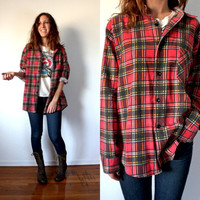 Vintage Grunge Red Flannel Button Down Shirt Oversized