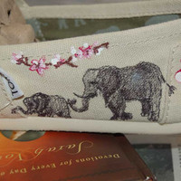 Custom TOMS - Cherry Blossoms and Elephants, price includes shoes in your size and color