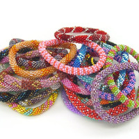 Roll-On Nepal Glass Beaded Bracelets - Wholsale 1 DOZEN (12 BRACELETS)Random Mix