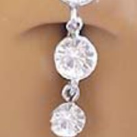 Clear Cz 4 Gem Drop Dangle Reverse Top Mount Belly button Navel Ring 14 gauge