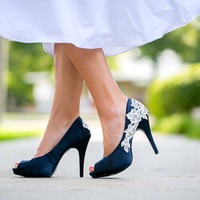 Wedding Shoes - Navy Blue Wedding Shoes/Bridal Shoes with Ivory Lace. US Size 7