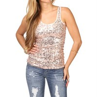 Blush Sequin Front Tank