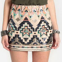 Cactus Sunrise Sequined Skirt - $50.00 : ThreadSence, Women's Indie & Bohemian Clothing, Dresses, & Accessories