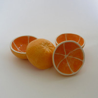 Set of 4 Orange Bowls