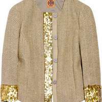 Tory Burch Gordie sequined silk-blend jacket - 50% Off Now at THE OUTNET