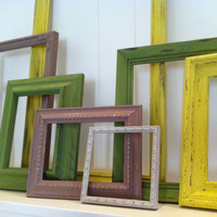 Empty Gallery Frames Taupe and Moss Colored Distressed Shabby Chic Vintage Frame Set  Open Frames Gallery Wall Frames